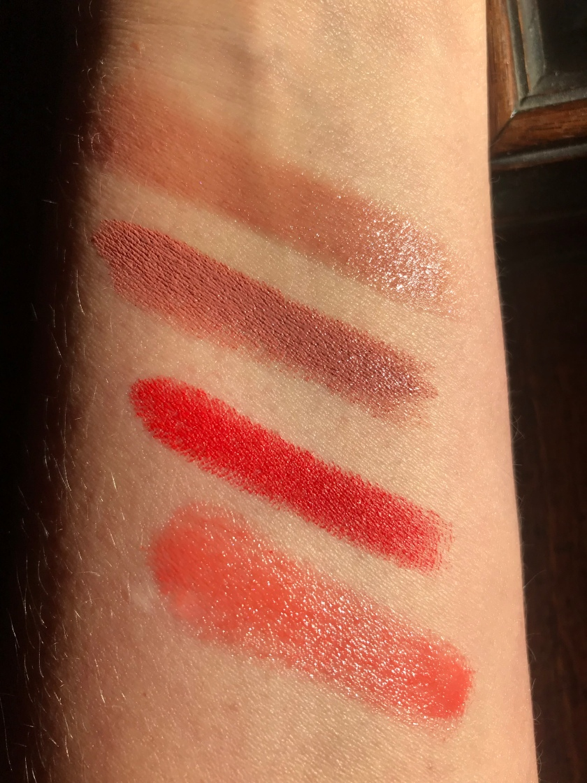 Swatches: Lancôme 323, MAC Maya La Belle, Chanel Boy, Marc Jacobs Sugar High